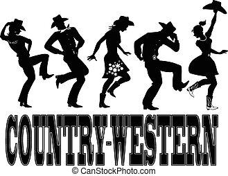 country-western, ダンス, シルエット, ba