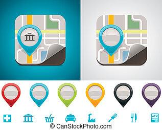 customizable, 地図, 位置, アイコン