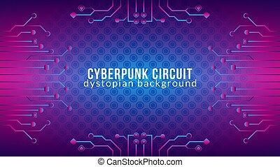 cyberpunk, 色, 勾配, 青, ベクトル, template., theme., 電子, サイエンスフィクション, 背景, pattern., は虫類, 紫色, illustration., 形, 皮膚, ピンク, 回路, デザイン, 木, dystopian, すみれ, 抽象的
