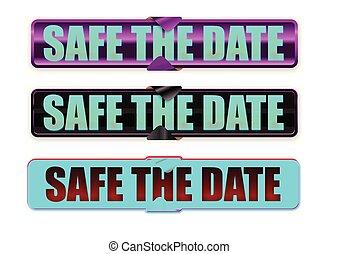 datum, geschenkband, retten