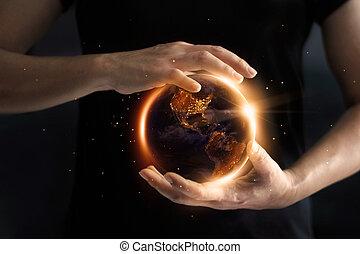 day., 要素, 提示, 消費, 供給される, これ, イメージ, 世界的である, 環境, s, 保存, world', 手を持つ, 地球, エネルギー, 夜, concept., nasa