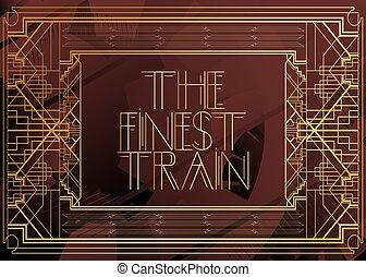 deco, 芸術, text., finest, 列車