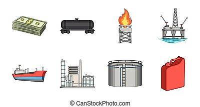 design., ベクトル, オイル, 網, セット, 生産設備, 株, コレクション, シンボル, アイコン, illustration., 産業
