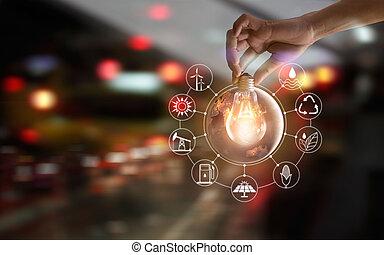 development., ショー, エネルギー, 世界的である, nasa., 世界, 源, エコロジー, アイコン, concept., 供給される, enviroment, 保有物, consumtion, イメージ, 要素, 手, 前部, 電球, 回復可能, これ, ライト, 支持できる