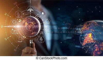 development., ショー, エネルギー, 世界的である, nasa., 源, エコロジー, 地球, 拡大する, 消費, アイコン, concept., 供給される, 世界, ライト, 保有物, イメージ, 要素, ガラス, 人, 捜索しなさい, 回復可能, これ, 夜, 支持できる