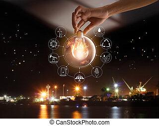 development., ショー, エネルギー, 世界的である, nasa., 源, エコロジー, 消費, アイコン, concept., 供給される, 世界, 保有物, イメージ, 要素, 手, 前部, 電球, 回復可能, これ, ライト, 支持できる