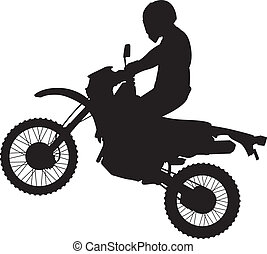 dirtbike, 跳躍, シルエット