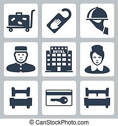 disturb', five-star, 手荷物, 印, 女中, 受付係, ホテル, ベッド, ベッド, ホテル, カード, 単一, ベクトル, キー, ダブル, ない, アイコン, 皿, カート, set:, 'do