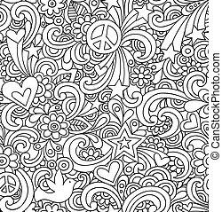 doodles, ノート, seamless, パターン