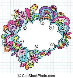 doodles, フレーム, psychedelic, 雲