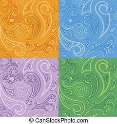 doodles, ペイズリー織, セット, seamless