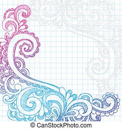 doodles, ペイズリー織, 端, sketchy, ページ