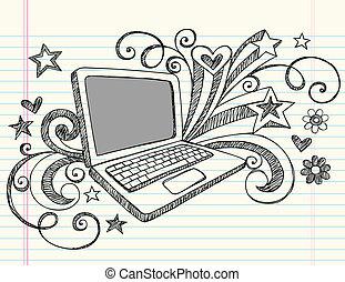 doodles, ラップトップ・コンピュータ, sketchy