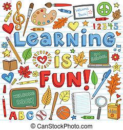 doodles, 学校, セット, 背中, 勉強