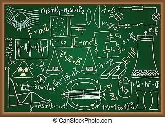 doodles, 方程式, 黒板, 健康診断