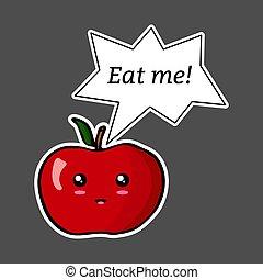?eat, ステッカー, 泡, イラスト, me!?., 隔離された, スピーチ, kawaii, アップル, ベクトル, カラフルである, バックグラウンド。, 漫画, 暗い
