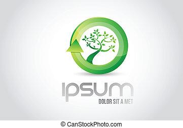 eco, シンボル, 木, イラスト, デザイン, ロゴ