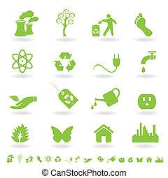 eco, セット, 緑, アイコン