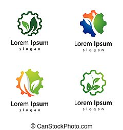 eco, デザイン, ロゴ, 技術