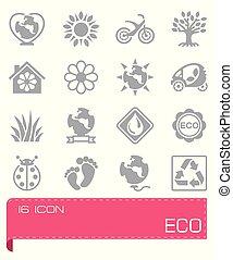 eco, ベクトル, セット, アイコン