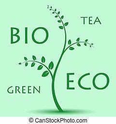 eco, ライト, 木, 緑の背景