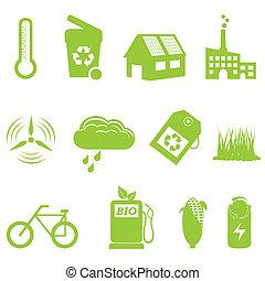 eco, リサイクル, セット, アイコン