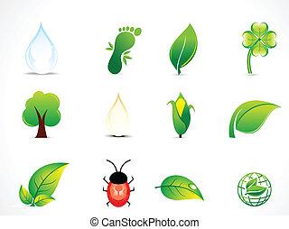 eco, 抽象的, セット, 自然, アイコン
