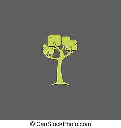 eco, 抽象的, icon., template., leafs, ロゴ, 創造的, ベクトル, 緑, デザイン, 概念