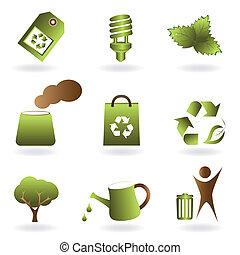 eco, 環境, セット, アイコン