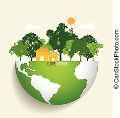 eco, 緑, ベクトル, earth., illustration.