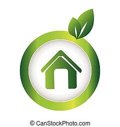 eco, 緑, 円, 紋章, 家