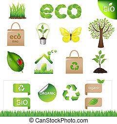 eco, 要素, デザイン, コレクション, アイコン