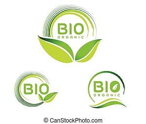 eco, bio, ロゴ, アイコン