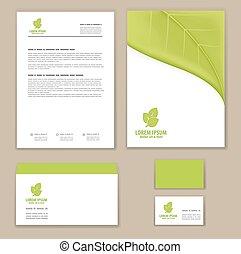 eco, template., ロゴ, 緑の葉