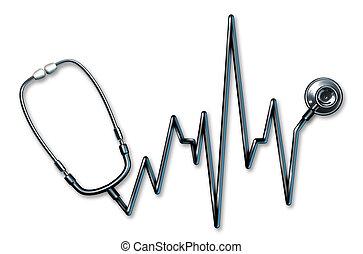 ekg, シンボル, 聴診器, ヘルスケア