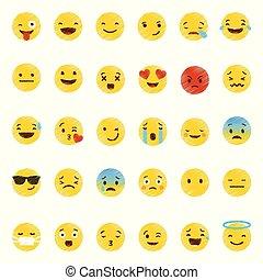 emoji, ベクトル, セット, アイコン