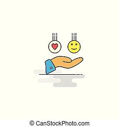 emoji, 平ら, icon., ベクトル, 手