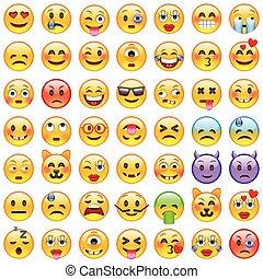 emoji., 微笑, アイコン, セット, emoticons.