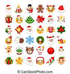 emojis, セット, クリスマス