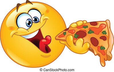 emoticon, ピザを 食べること