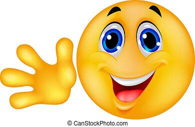 emoticon, 振ること, smiley, 手