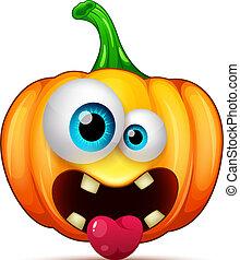 emoticon, 狂気, かわいい, 面白い, ハロウィーン, characters., 漫画, カボチャ