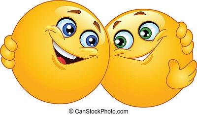 emoticons, 抱き合う