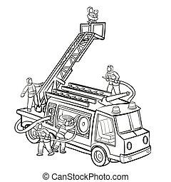 eps, 救助, 隔離された, 漫画, スケッチ, イラスト, トラック, 子供, 本, ベクトル, 背景, 着色, 白, オブジェクト, 消防士, 火