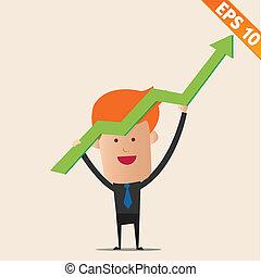 eps10, グラフ, -, イラスト, ベクトル, ポジティブ, ビジネスマン, 漫画