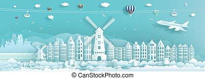 europe., 都市, アムステルダム, netherlands, 旅行, ランドマーク, 有名, 建築