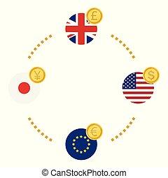 excange, アメリカ, 円, ポンド, ドル, イギリス, eu, 日本, icon., ユーロ