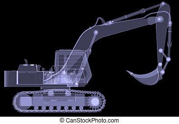 excavator., x 線