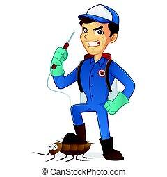 exterminator, 殺害, 害虫, スプレーヤー, 保有物, 虫