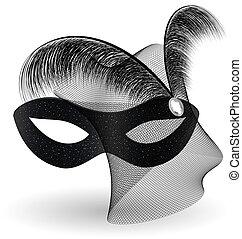 feathe, 黒, half-mask, カーニバル